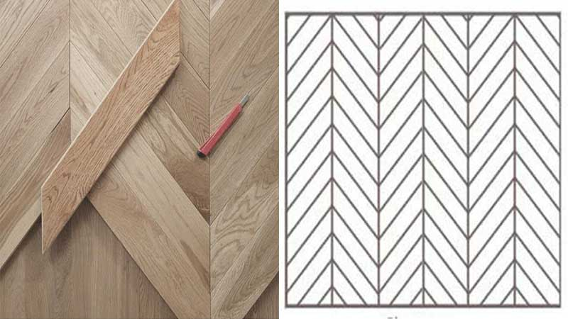Pemasangan lantai kayu motif chevron