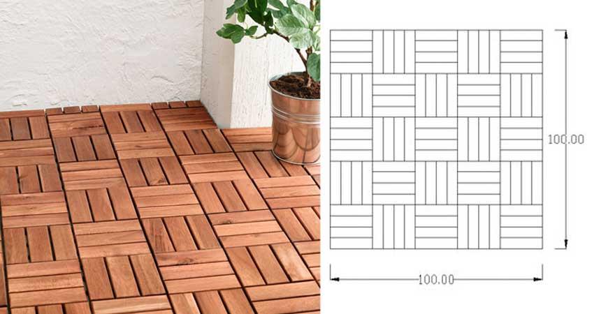 penerapan lantai kayu motif mozaik