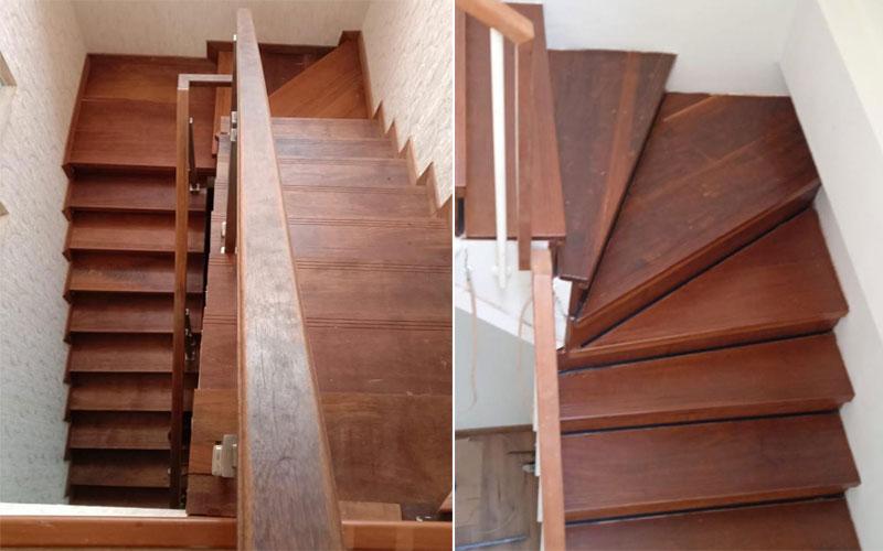 contoh pemasangan papan tangga kayu jati & merbau