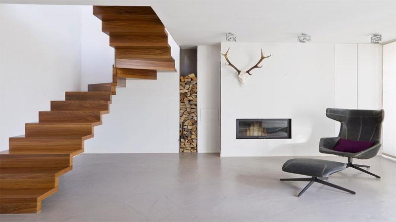 contoh desain tangga kayu melayang
