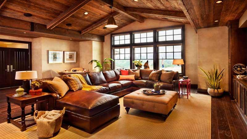 inspirasi desain ruang tamu plafon kayu minimalis