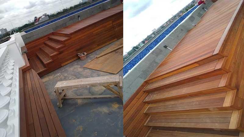 project pemasangan lantai kayu di rumah irwansyah