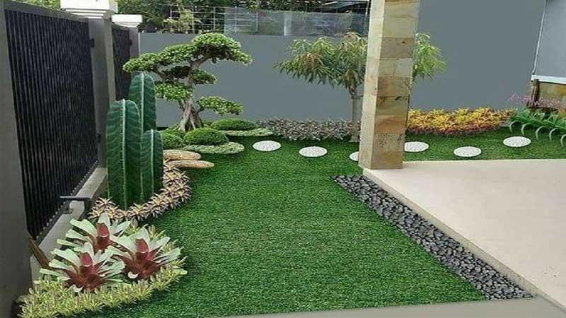 kombinasikan rumput dan tanaman pada taman depan rumah minimalis