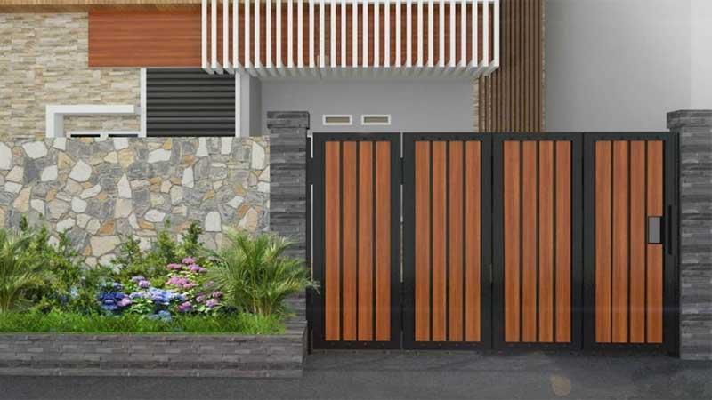 desain pagar kayu vertikal